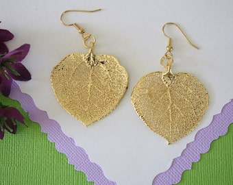 Gold Leaf Earrings, Aspen Leaf, Real Leaf Earrings, Aspen Earrings,24kt Gold, Nature, Large Aspen Earrings, LEP61