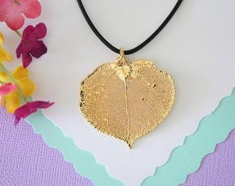 Gold Leaf Necklace, Real Leaf, Aspen Leaf Pendant, Gold Aspen Leaf Necklace, Real Leaf Necklace, 24kt Gold Dipped Leaf, LL1