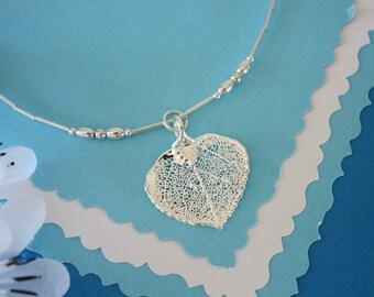 Silver Anklet Aspen Leaf, Sterling Silver Leaf, Real Leaf, Sterling Silver Anklet, Bridesmaid Gift, Dipped
