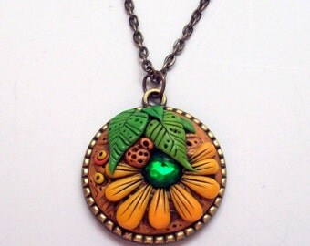 Summer Garden Daisy Pendant Necklace, Handmade