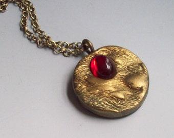 Pendant Necklace Polymer Clay Gold Red Vintage Cabochon, Organic Textures
