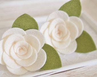 Set of 6pcs handmade felt flowers--ivory (FT982)