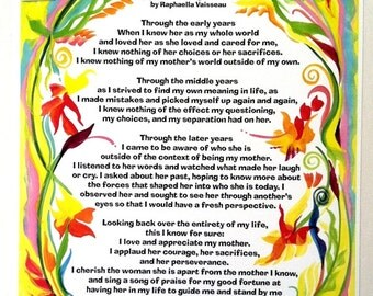APPRECIATING MOTHER Original Poetry Gift for Mom by Raphaella Vaisseau Inspirational Print Mother's Day Birthday Women Friends Heartful Art