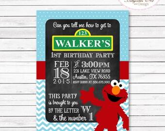 Elmo 1st Birthday Party Invitation, Elmo Invitation, Elmo Boy Invitation, Elmo Party, Elmo printable invitation, Elmo invites