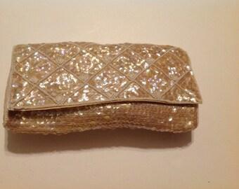 Vintage 1970's Era Sequined Clutch/Purse/Handbag