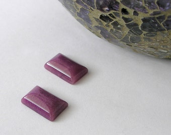 Purple Onyx Rectangle Cabochons- 16mm x 10mm High Domed Orchid Purple- One Pair Two Cabs- For Jewelry Making