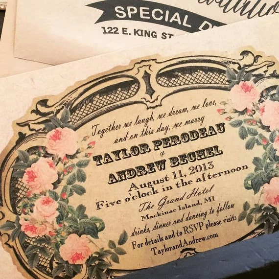 French Vintage Wedding Invitations: Items Similar To Vintage Wedding Invitations: Vintage