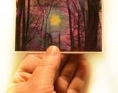 Winter sunrise, art, aceo original, mixed media photograph, tiny art, purple art, violet art,tree art, miniature art