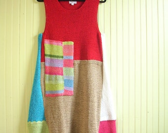 Size Large Sleeveless Bohemian  Dress/ Upcycled Abstract Dress/ Red and Tan/ brendaabdullah
