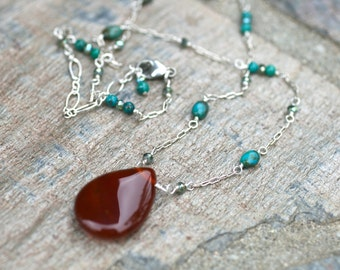 Carnelian and Turquoise Gemstone Sterling Silver Handmade Necklace, Autumn Colors, MindyG Jewelry