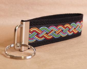 Celtic Braid Rainbow Jacquard Ribbon Key Fob