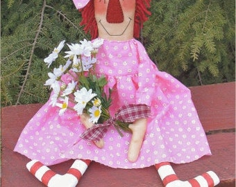 Daisy Anne EPATTERN...primitive country cloth doll craft digital download sewing pattern...PDF...1.99