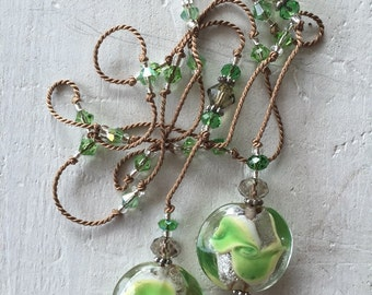 Hand Knotted Silk Lariat With Lampwork Beads
