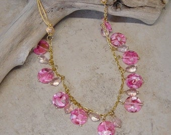 Gold Chain Pink Bead Necklace, Pink Resin Shell Bead Necklace, Cherry Quartz Bead Necklace, Pink Necklace,Boho, Gold Chain Necklace