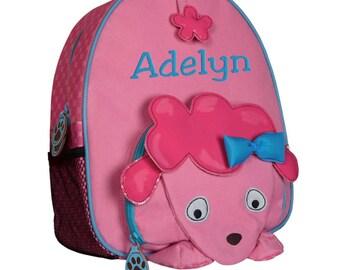 Toddler Backpack Monogrammed Girl Preschooler Personalized Poodle Dog