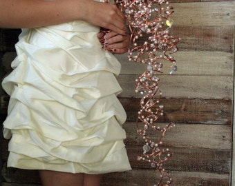 Couture Bouquet of Copper: Trailing Arrangement with Pearls and Crystals