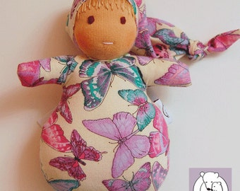 Waldorf inspired Mini Baby ,Pink and Purple Butterflies on Beige