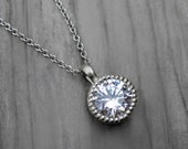 Moissanite Solitaire Necklace: 1ct; Rose, Yellow, or White Gold Pendant; Forever Brilliant ™