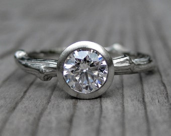 Moissanite Twig Engagement Ring: Rose, Yellow, or White Gold; .50ct Forever Brilliant ™