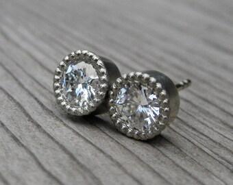 Moissanite Stud Earrings: 1ct; Rose, Yellow, or White Gold; Forever Brilliant ™