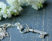 Silver Key Necklace for Her Graduation /  Wedding Jewelry for your Bridesmaid / Key to Success Gift / Key to Your Heart Necklace