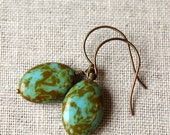 Mossy Blue Brass Earrings / Green and Turquoise Earrings for the Nature Lover / Sky Blue and Mossy Pond / Nature Walk Inspired