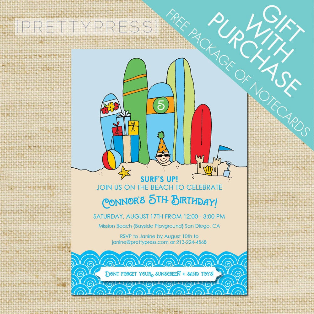 Kids Beach Party Invitation surf party with surf boards