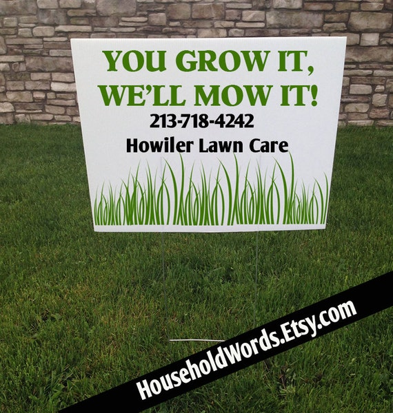 Landscape Commercial Sign: Mowing Business Custom Corrugated Yard Sign Lawn Care
