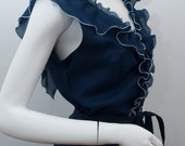 """Vintage Evening Dress KLEEMEIER HOF Navy Blue Long 70s Maxi Ruffle Dress Size Medium 36"""" Bust UK 12 1970s"""