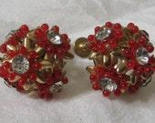 Vintage Flower & Rhinestone Metal Costume Jewelry Screw Back Earrings