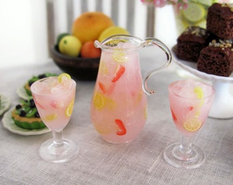 Miniature PINK LEMONADE with Strawberries Set - Blown Glass Pitcher and Plastic Goblet Pair for 1:6 Scale Fashion Dolls and Figures
