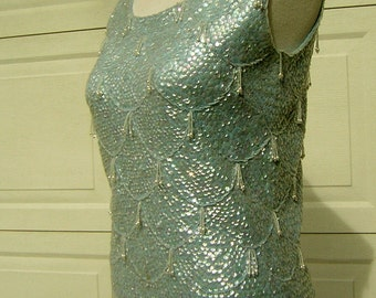 """Baby Blue Sequin Glass Bead Encrusted Tank Top Vintage 60s - GoGo Girl / Mad Men Cocktail Party - Bust 37"""""""