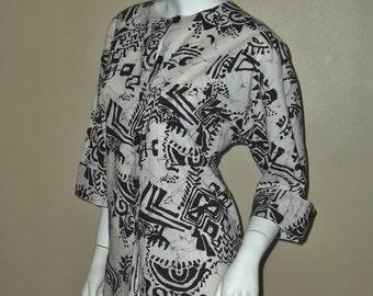 Vintage MALIA Bohemian Ethnic Novelty Print Hawaiian Tunic Blouse L