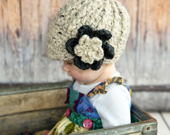 Toddler Girl Hat 1T to 2T Oatmeal Toddler Hat Toddler Girl Clothes Charcoal Gray Crochet Flower Hat Flapper Winter Hat Photography Prop