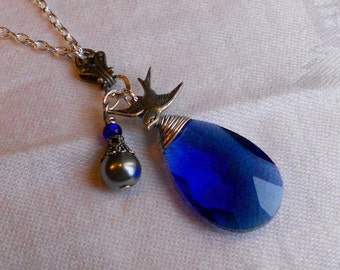 osO HIRONDELLE Oso blue briolette silver bird necklace