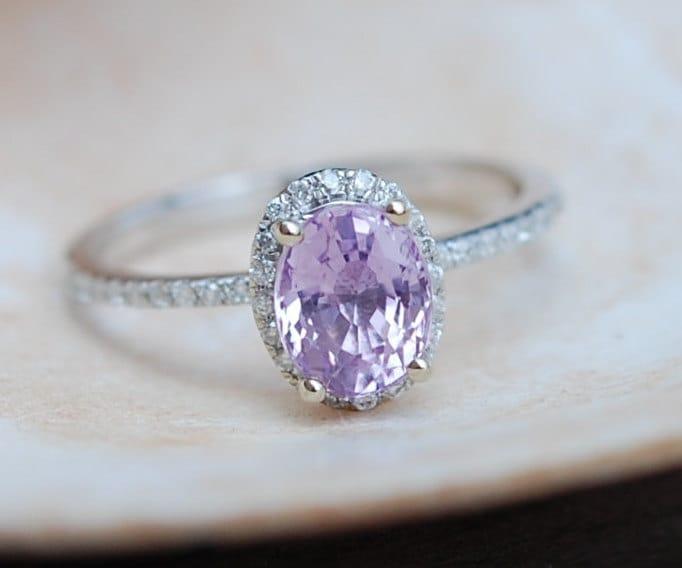 Light Purple Diamond Engagement Rings