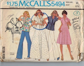 1970s Vintage Sewing Pattern McCalls 5494 Misses High Waisted Top or Dress Size 10 Bust 32 1977 70s B32