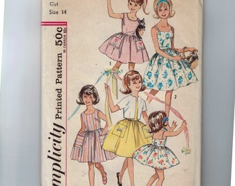 1960s Vintage Sewing Pattern Simplicity 4968 Juniors Girls Sundress Full Skirt Size 14 Breast Bust 32 1960s 60s  99