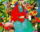 Frida Kahlo Poster Print Instant Digital Download Mexican Forest Flowers Birds Monkey Pink Flamingo Yellow Blue Green Black White All Sizes