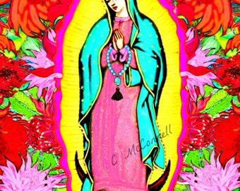 Our Lady Guadalupe Frida Kahlo Poster Print Photomontage Instant Digital Download All Sizes Wall Modern Home Decor Virgin Mary Mexican Skull