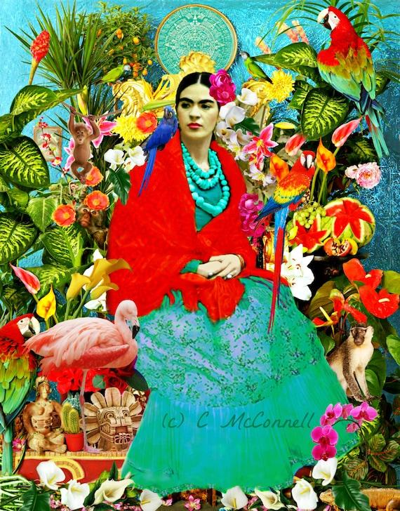 Frida Kahlo imprimer Instant Digital Download mexicain Forest fleurs oiseaux Rose Flamingo jaune bleu vert noir blanc petit t Poster de singe