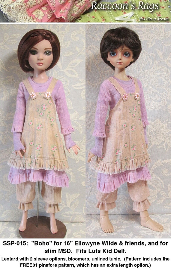 """STRAIGHTFORWARD SEWING Pattern SSP-015: """"Boho"""" Leotard, bloomers, tunic and pinafore for Ellowyne Wilde & friends. Also fits Luts kid Delf."""