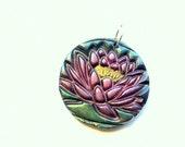 Pink Lotus Blossom Handmade Polymer Clay Pendant