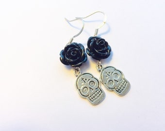 Silver Sugar Skull Earrings Black Rose Day of the Dead Jewelry