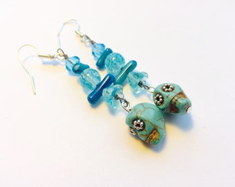 Turquoise Day of the Dead Sugar Skull Earrings