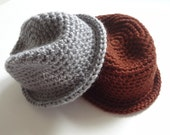 Baby Fedora Crochet Hat - Size 0-3-6 Months - Crocheted Photo Prop