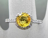 Custom listing for Andy Round Natural Yellow Sapphire 6.50mm (1.47ct) in 14K white gold double Halo ring w/ .45 carats of diamonds 0970 MMM