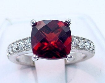 Natural Red Pyrope Garnet   9x9mm  4.12 Carats   in 14K White gold diamond (.30ct) Ring 0722