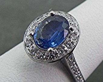 Blue Sapphire Natural   8x6mm  1.36 Carats   Diamond Halo ring 14k White gold .50 cts of Diamonds 1100
