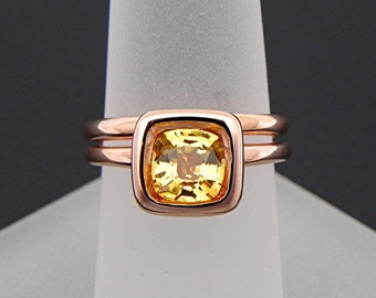 AAAA Natural Yellow Sapphire Cushion Cut   7x7mm  1.41 Carats   in a 14K Rose gold bridal set. 2040